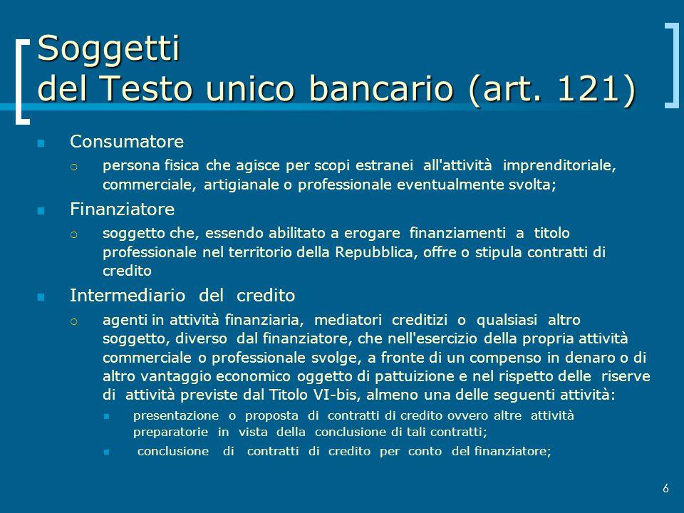 Soggetti del Testo unico bancario (art. 121)