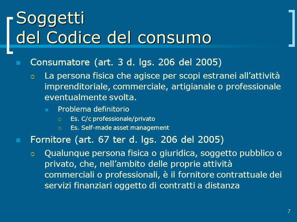 Soggetti del Codice del consumo