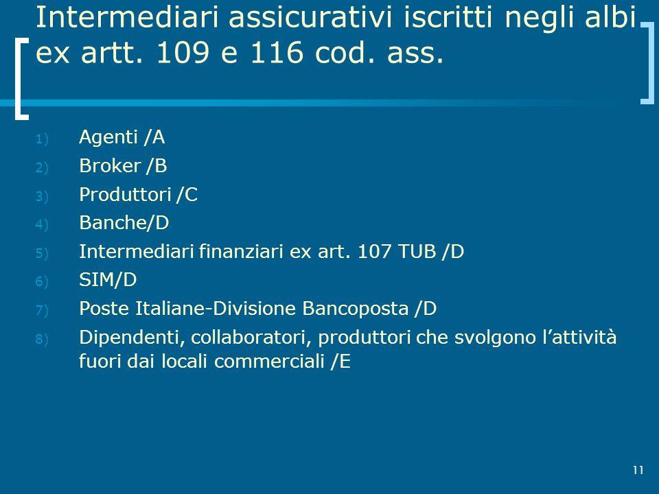 Intermediari assicurativi iscritti negli albi ex artt. 109 e 116 cod