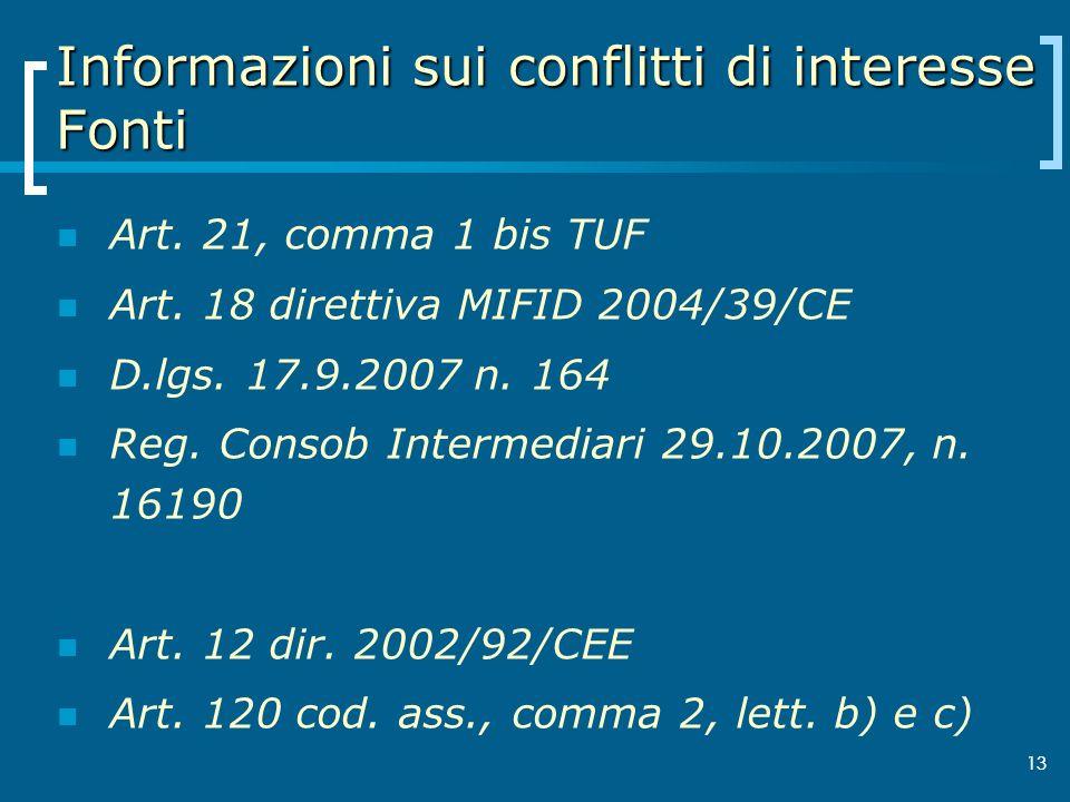 Informazioni sui conflitti di interesse Fonti
