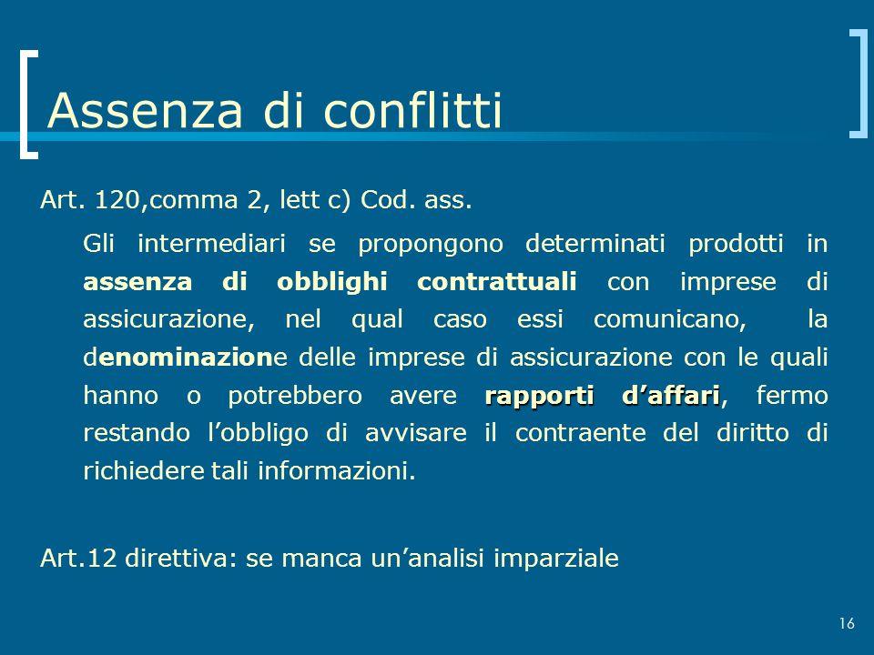 Assenza di conflitti Art. 120,comma 2, lett c) Cod. ass.