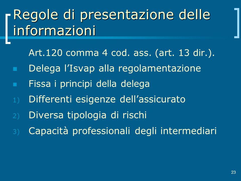 Regole di presentazione delle informazioni