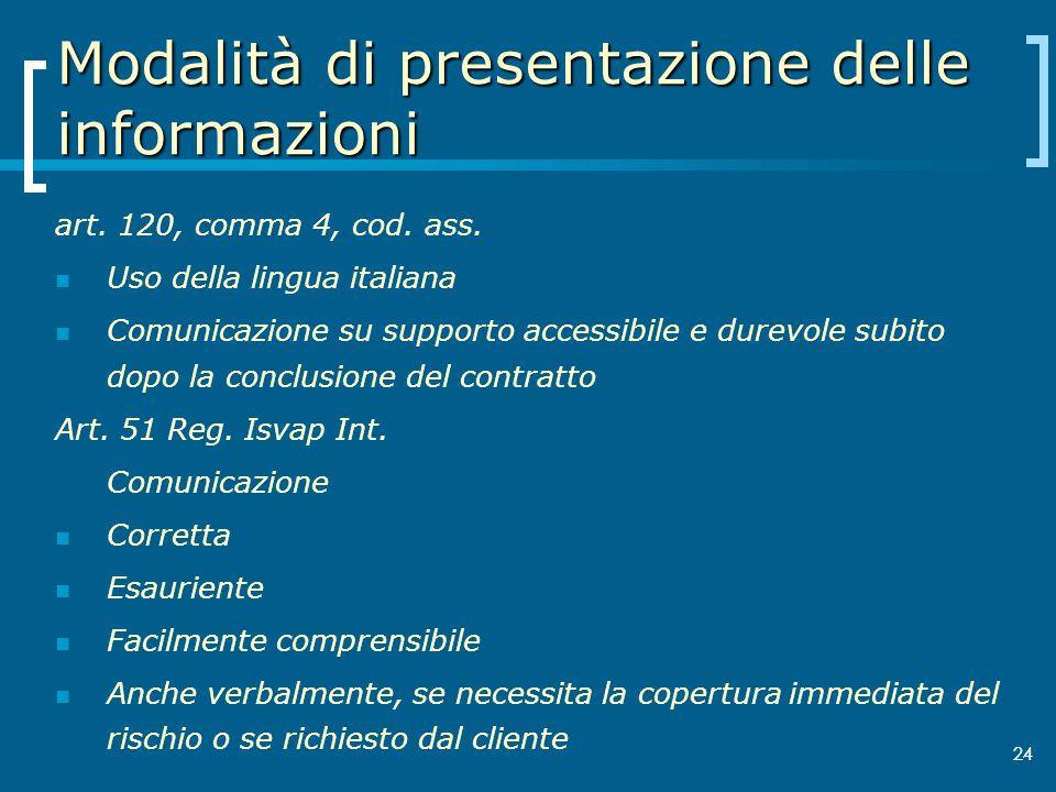 Modalità di presentazione delle informazioni