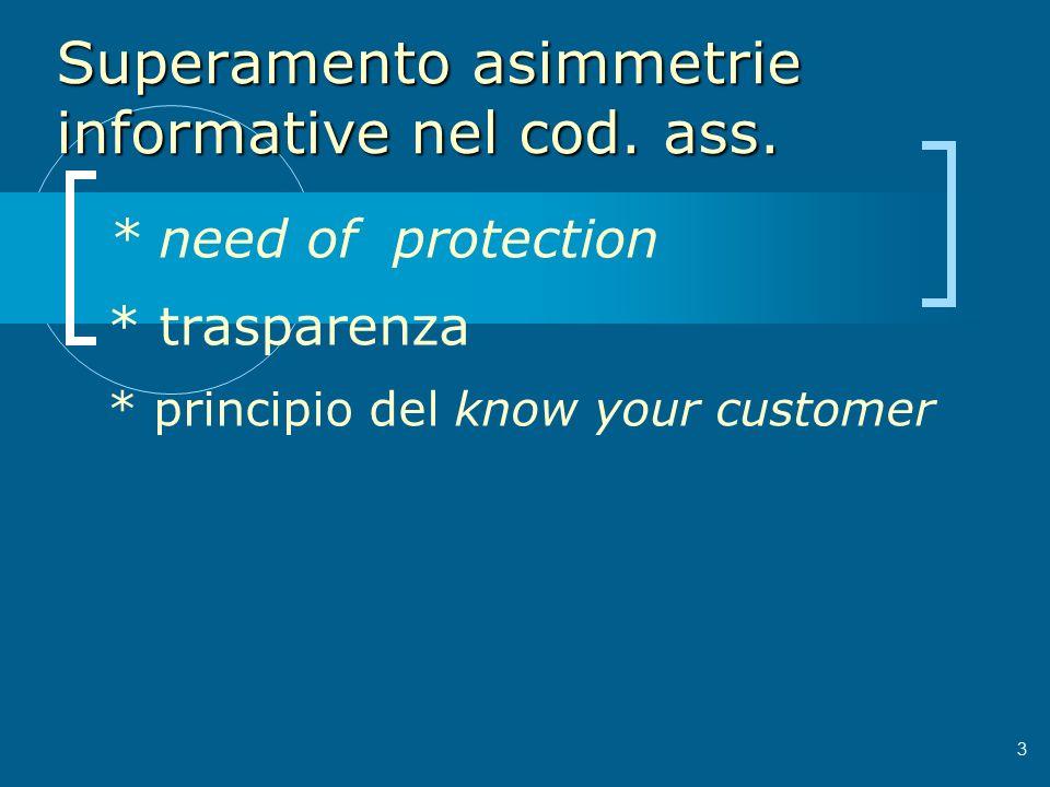 Superamento asimmetrie informative nel cod. ass.