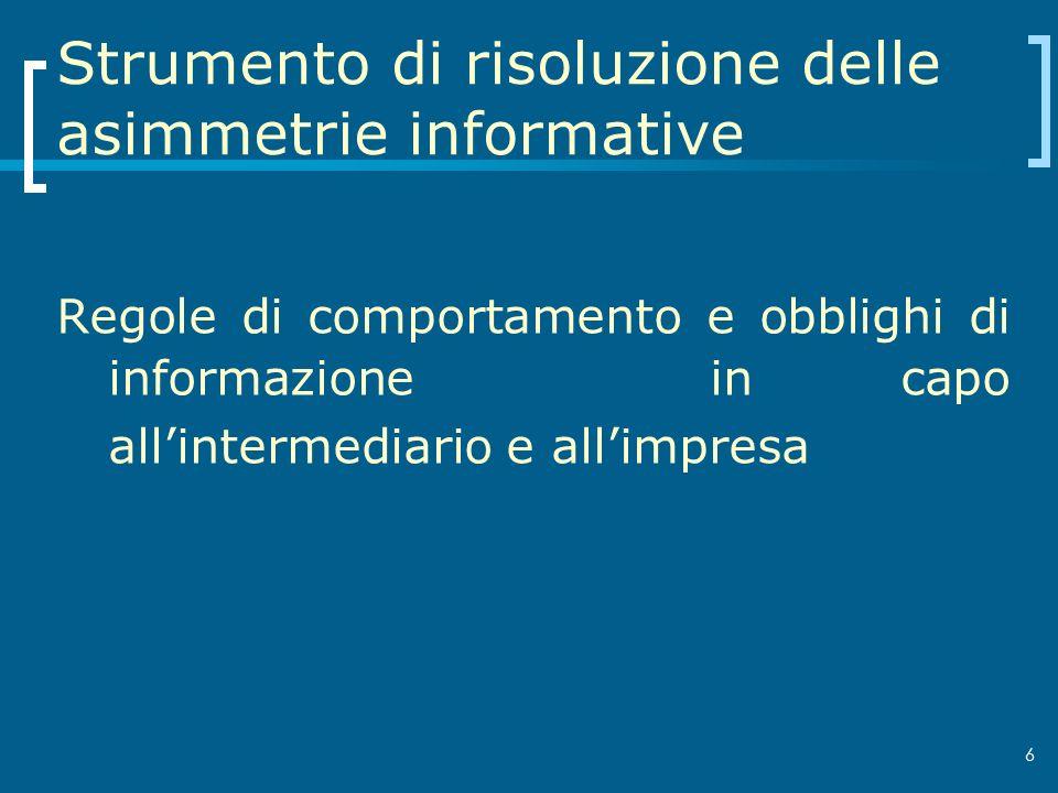 Strumento di risoluzione delle asimmetrie informative