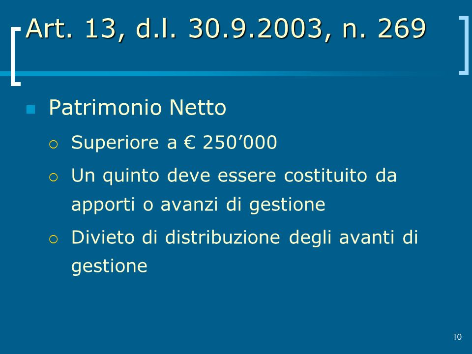 Art. 13, d.l. 30.9.2003, n. 269 Patrimonio Netto Superiore a € 250'000