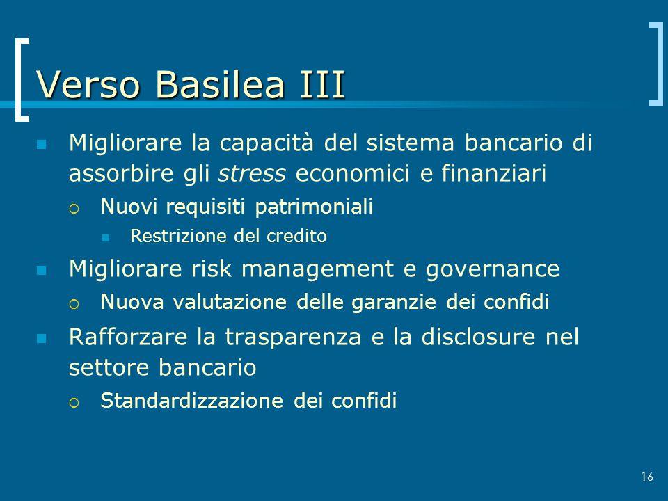 Verso Basilea III Migliorare la capacità del sistema bancario di assorbire gli stress economici e finanziari.