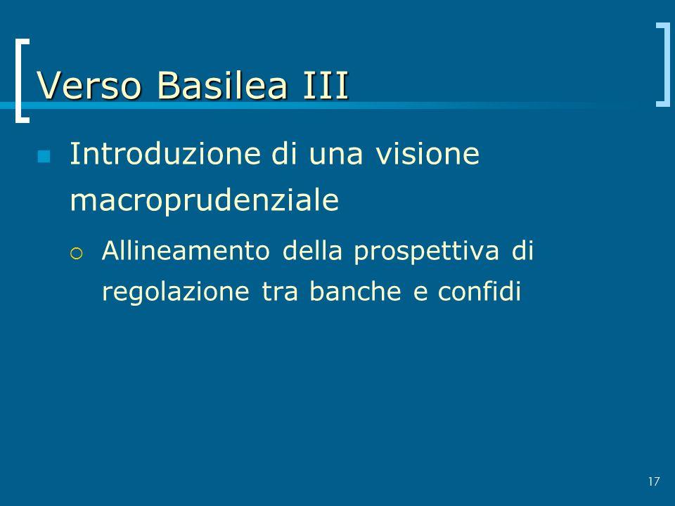 Verso Basilea III Introduzione di una visione macroprudenziale