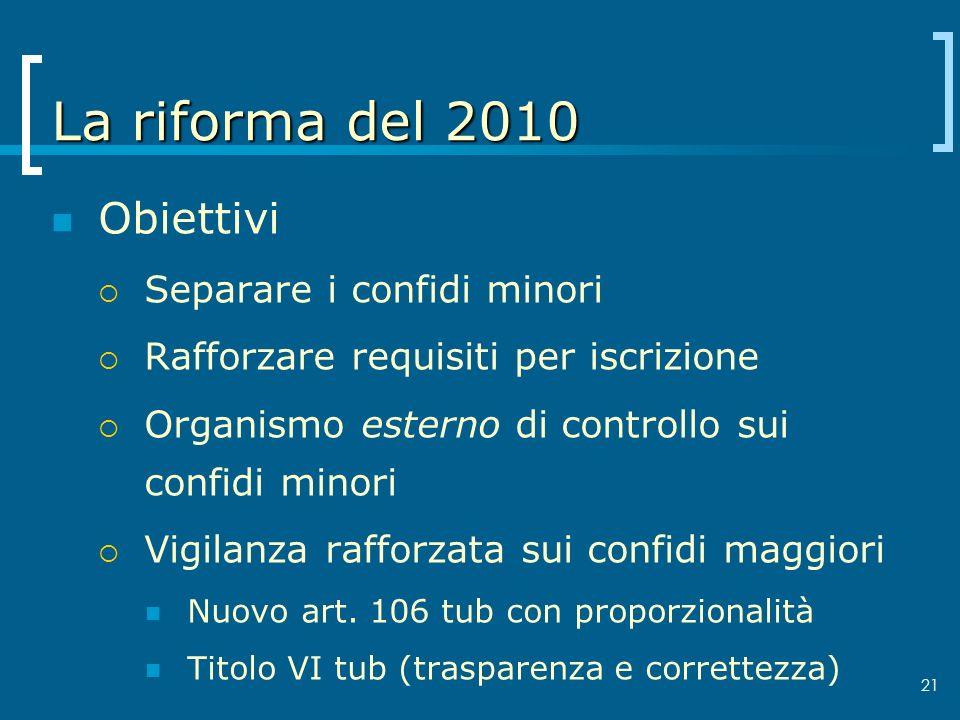 La riforma del 2010 Obiettivi Separare i confidi minori