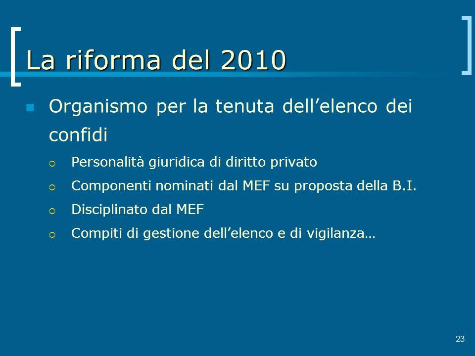La riforma del 2010 Organismo per la tenuta dell'elenco dei confidi