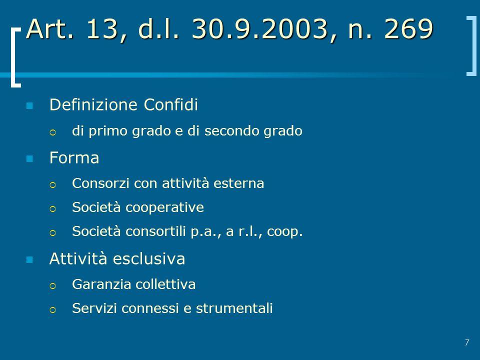Art. 13, d.l. 30.9.2003, n. 269 Definizione Confidi Forma