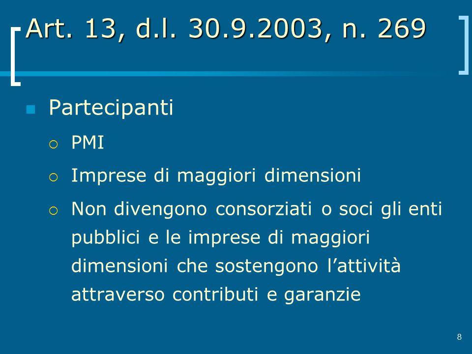 Art. 13, d.l. 30.9.2003, n. 269 Partecipanti PMI