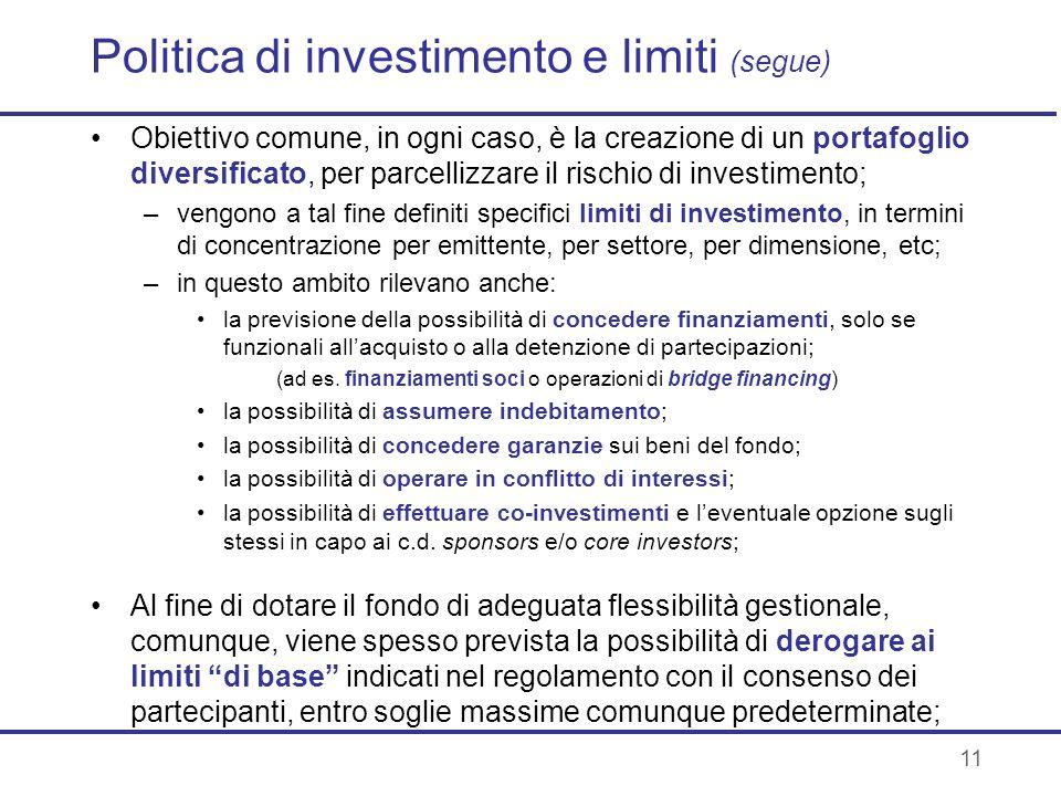 Politica di investimento e limiti (segue)