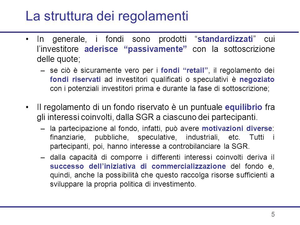 La struttura dei regolamenti