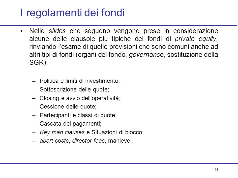 I regolamenti dei fondi