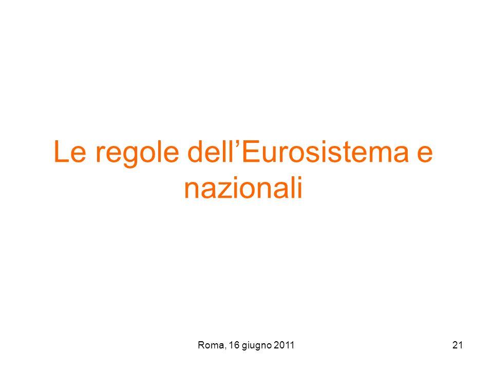 Le regole dell'Eurosistema e nazionali