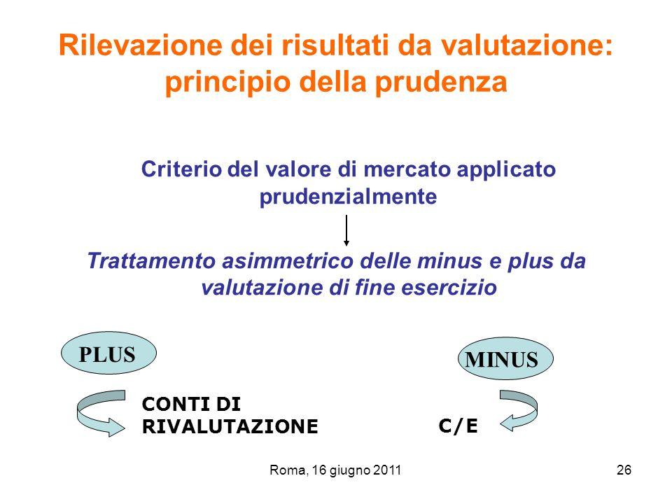 Rilevazione dei risultati da valutazione: principio della prudenza