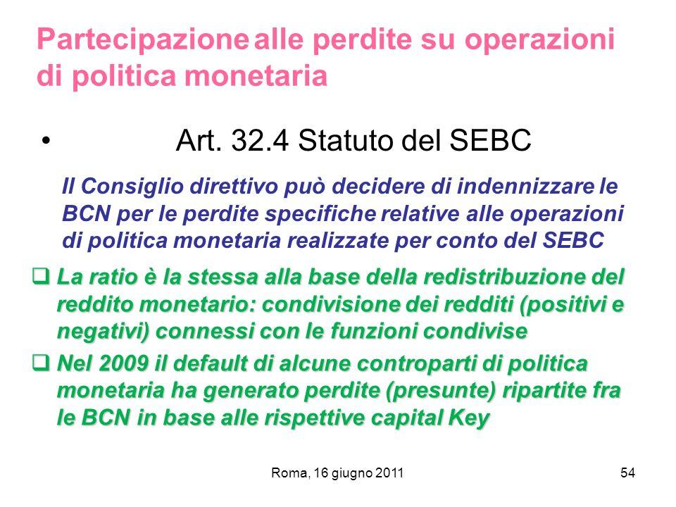 Partecipazione alle perdite su operazioni di politica monetaria