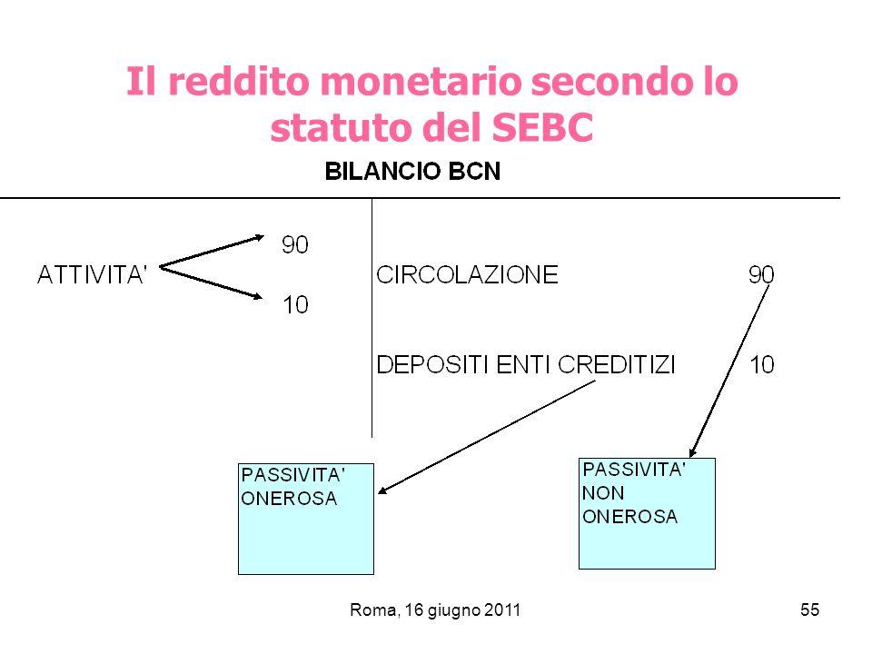 Il reddito monetario secondo lo statuto del SEBC