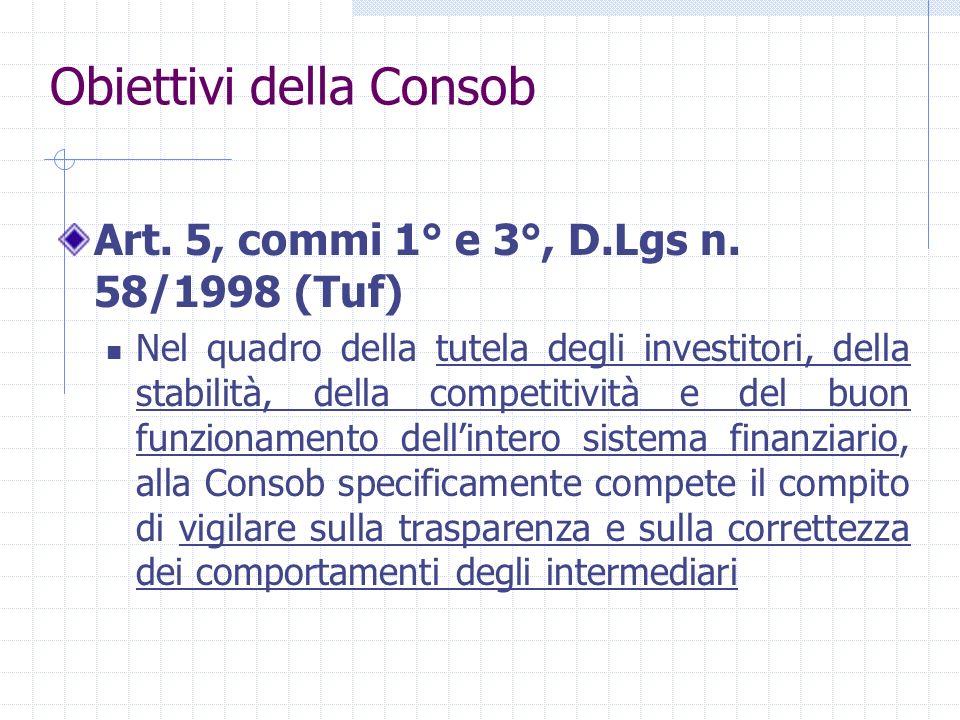 Obiettivi della Consob