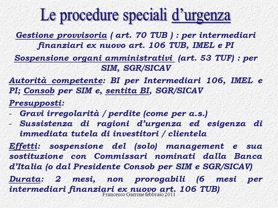 Sospensione organi amministrativi (art. 53 TUF) : per SIM, SGR/SICAV