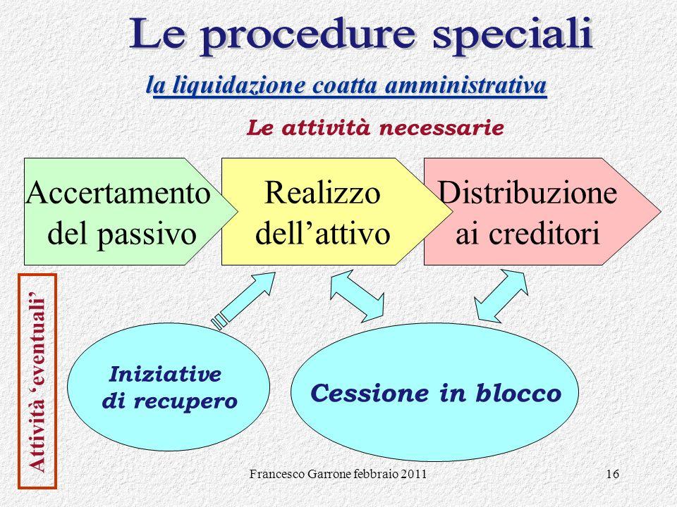 la liquidazione coatta amministrativa Le attività necessarie