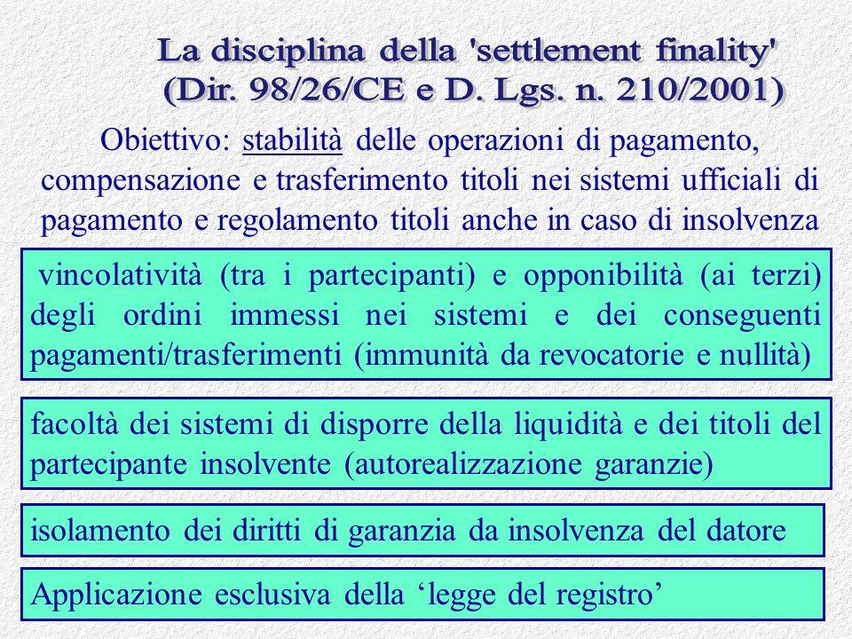 La disciplina della settlement finality