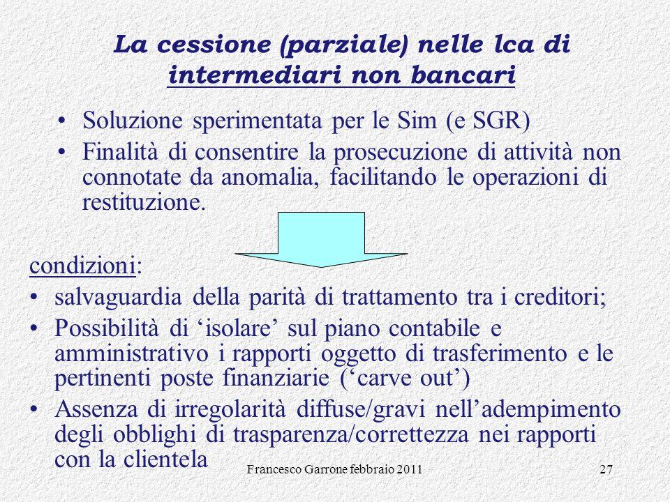La cessione (parziale) nelle lca di intermediari non bancari