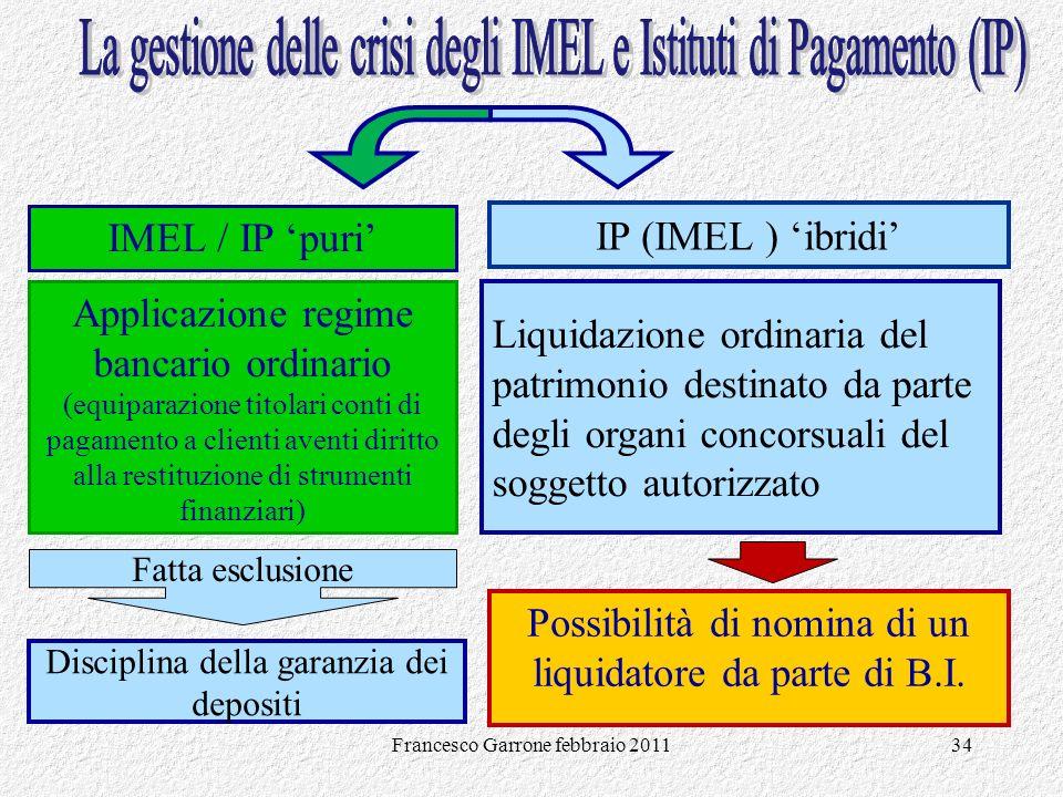 La gestione delle crisi degli IMEL e Istituti di Pagamento (IP)