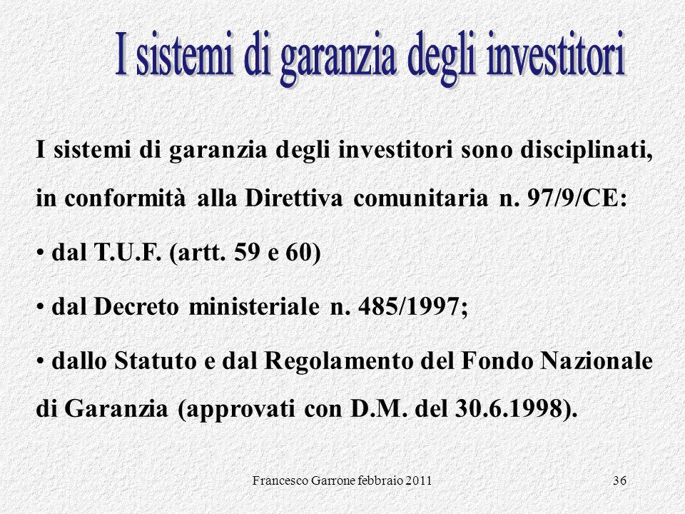 I sistemi di garanzia degli investitori