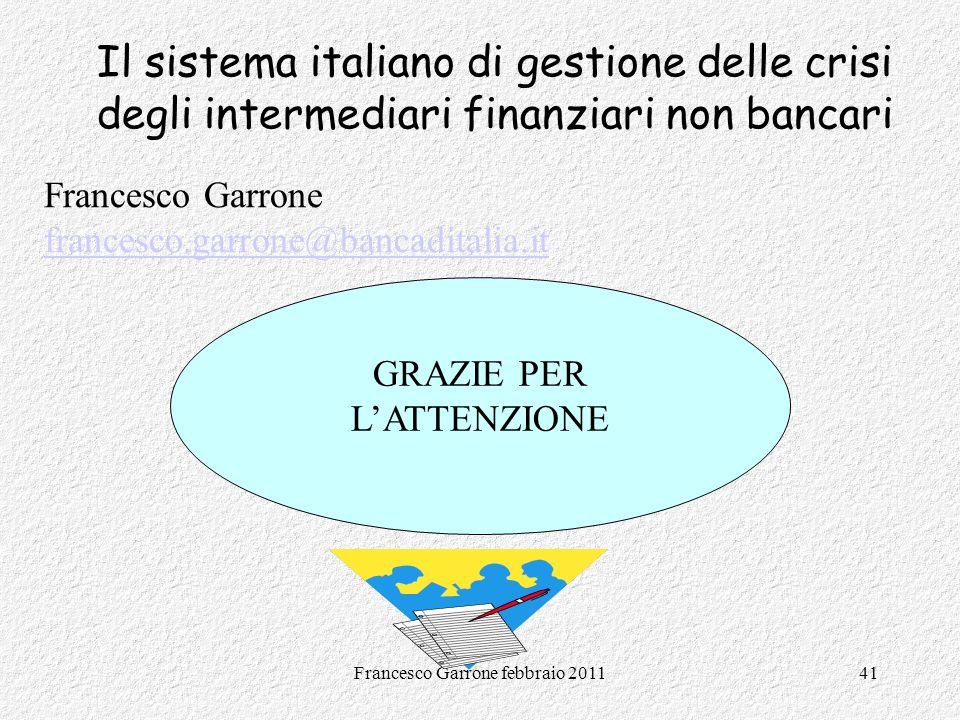 Il sistema italiano di gestione delle crisi degli intermediari finanziari non bancari