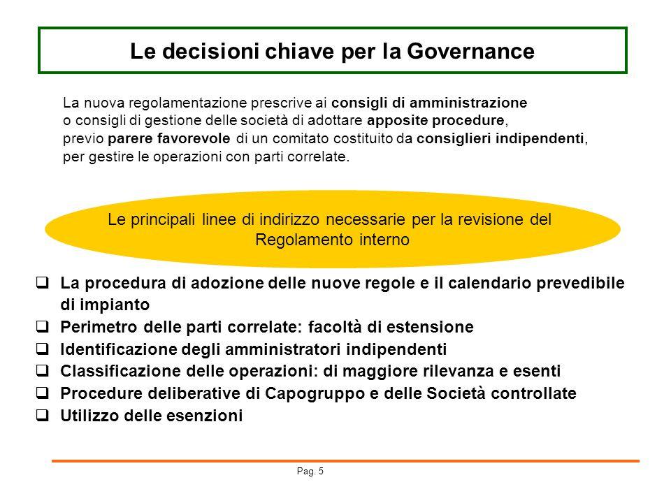 Le decisioni chiave per la Governance
