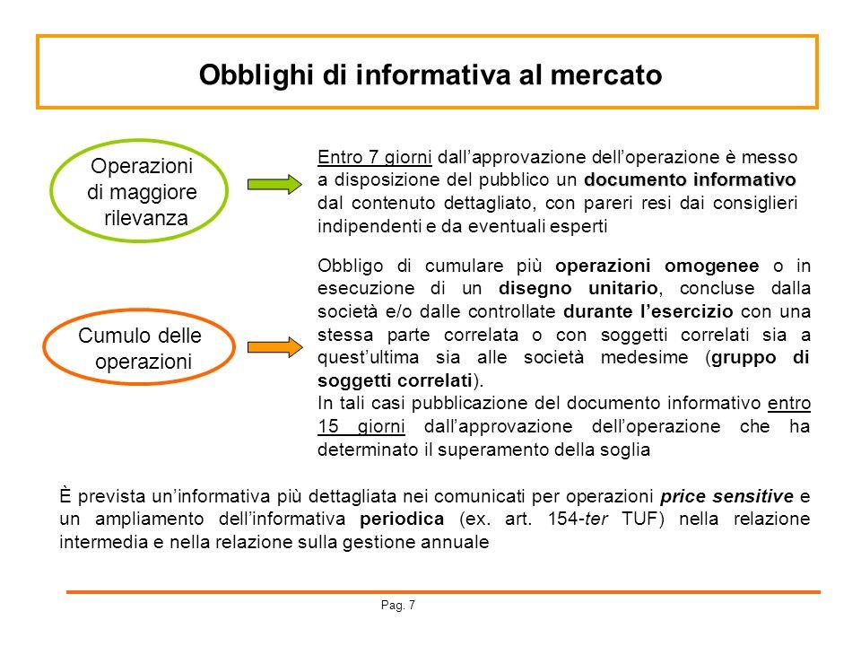 Obblighi di informativa al mercato