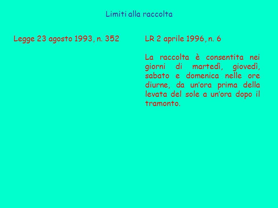 Limiti alla raccolta Legge 23 agosto 1993, n. 352. LR 2 aprile 1996, n. 6.