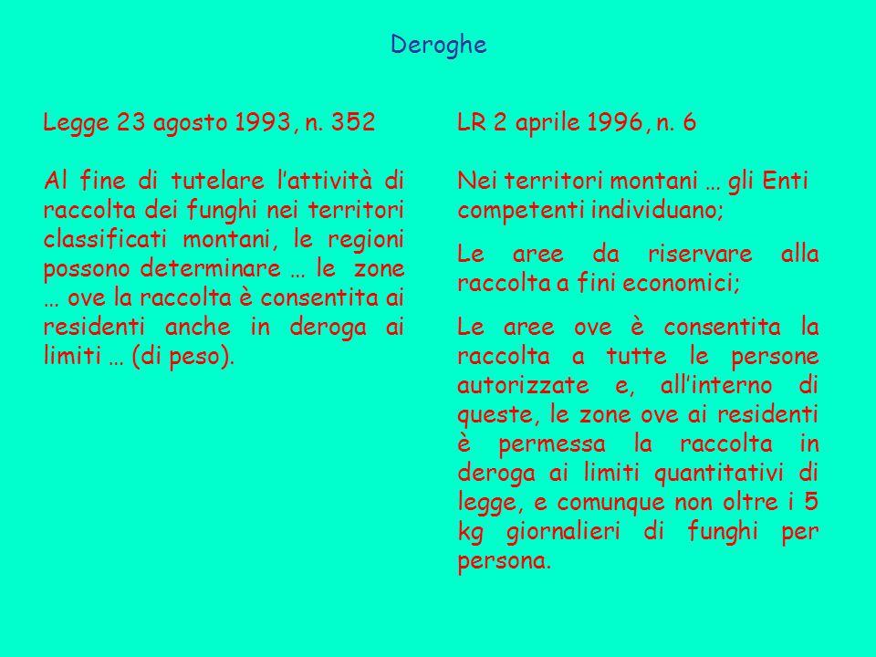 Deroghe Legge 23 agosto 1993, n. 352.