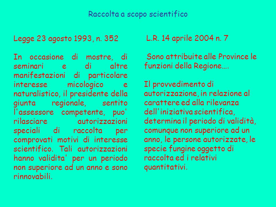 Raccolta a scopo scientifico