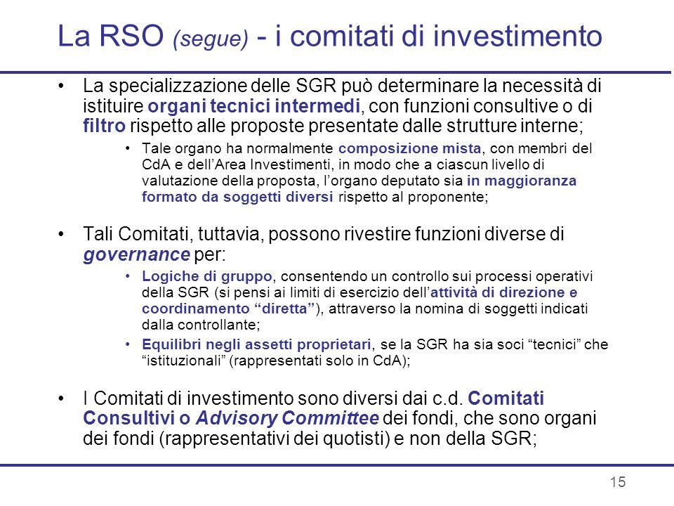 La RSO (segue) - i comitati di investimento