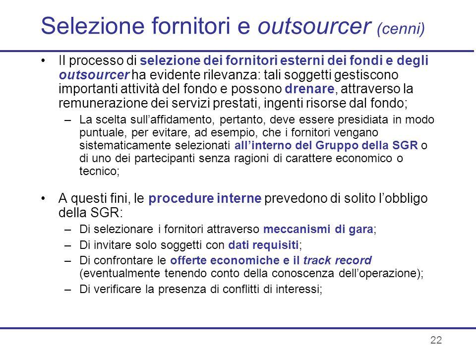 Selezione fornitori e outsourcer (cenni)