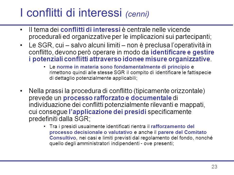 I conflitti di interessi (cenni)
