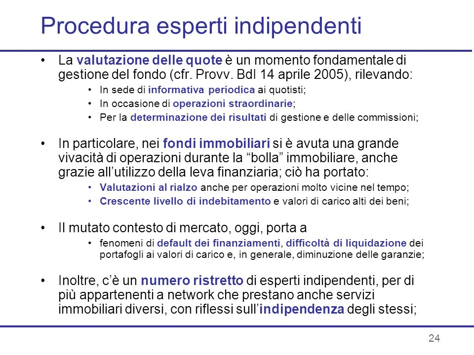 Procedura esperti indipendenti
