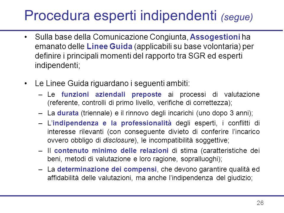 Procedura esperti indipendenti (segue)