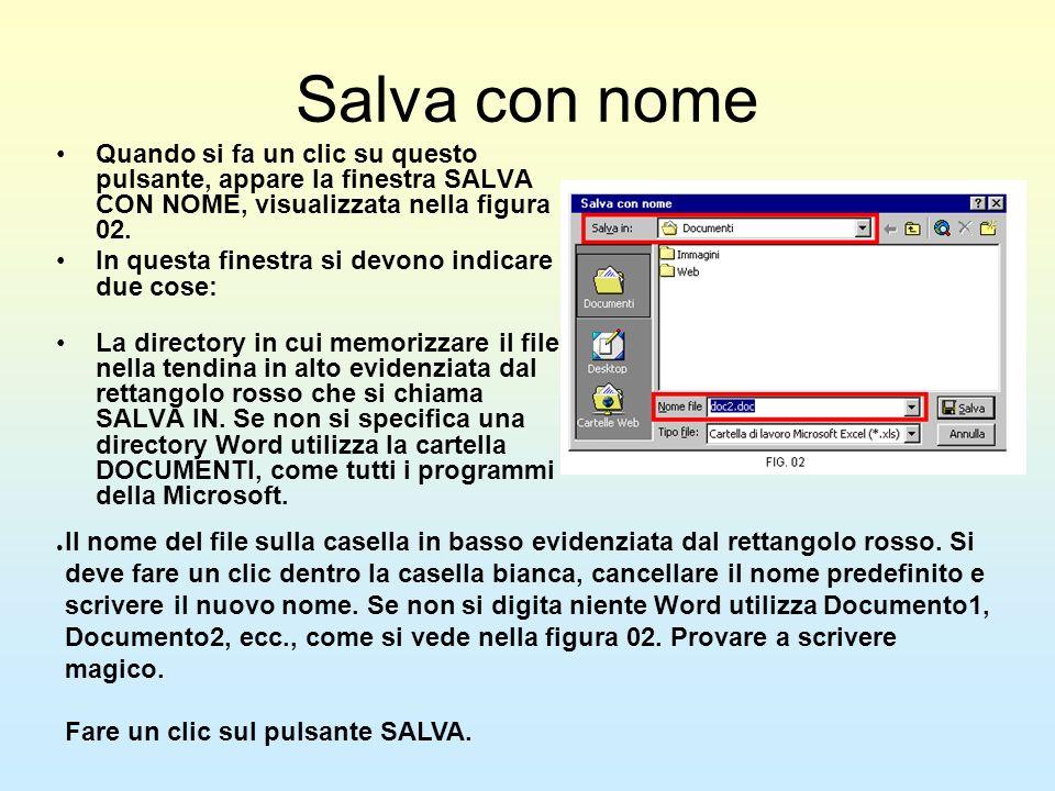 Salva con nome Quando si fa un clic su questo pulsante, appare la finestra SALVA CON NOME, visualizzata nella figura 02.