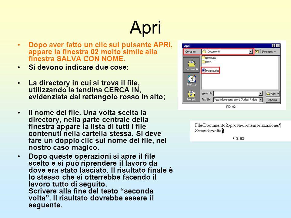 ApriDopo aver fatto un clic sul pulsante APRI, appare la finestra 02 molto simile alla finestra SALVA CON NOME.