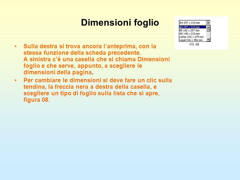 Dimensioni foglio