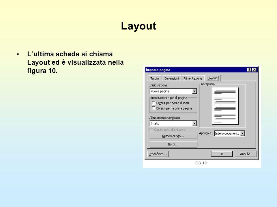 Layout L'ultima scheda si chiama Layout ed è visualizzata nella figura 10.