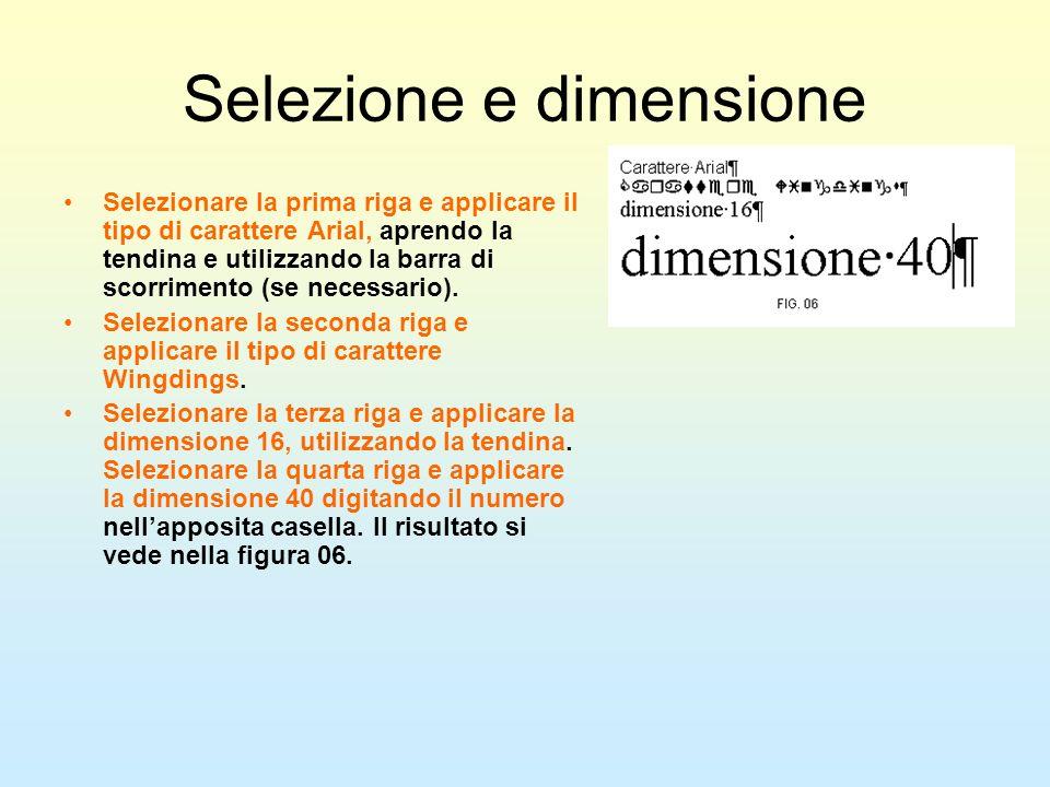 Selezione e dimensione