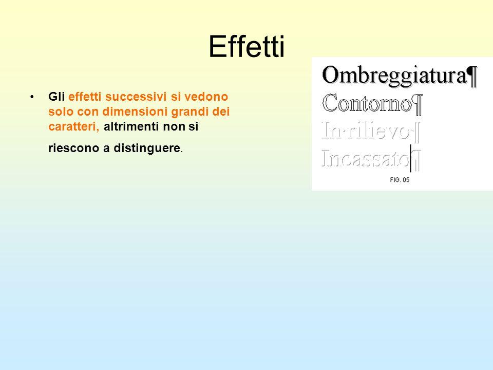 Effetti Gli effetti successivi si vedono solo con dimensioni grandi dei caratteri, altrimenti non si riescono a distinguere.