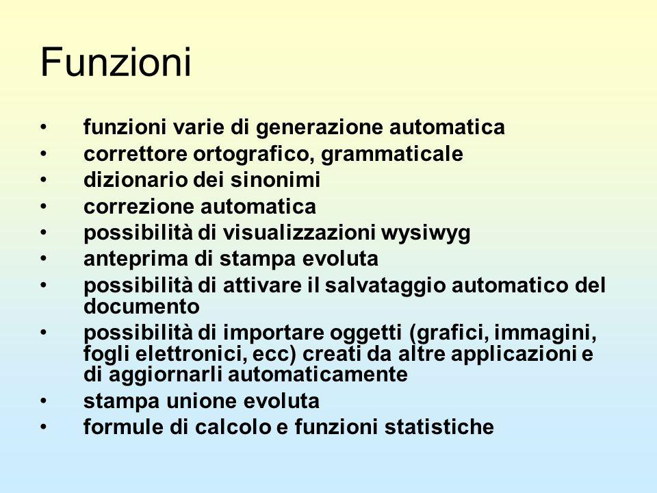 Funzioni funzioni varie di generazione automatica