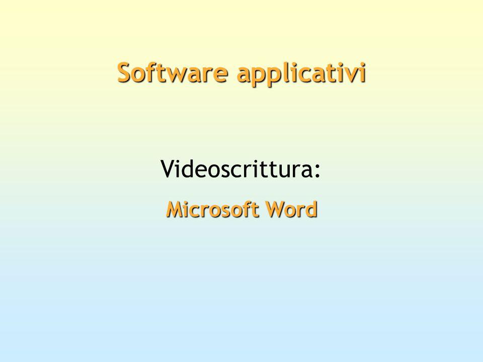 Software applicativi Videoscrittura: Microsoft Word