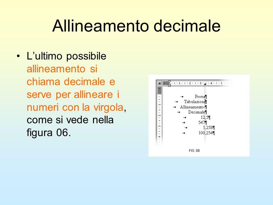 Allineamento decimale